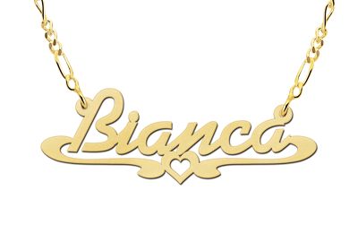 Golden name necklace, model Bianca