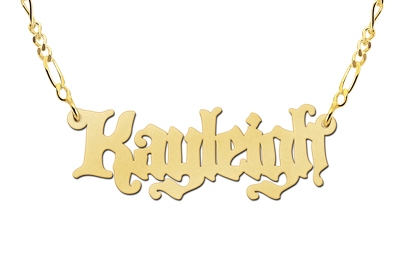 Gold Name Necklace model Kayleigh