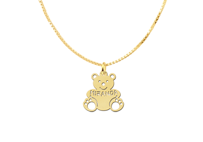 Golden Pendant with Bear