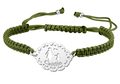 Silver mother bracelet shamballa green - girl