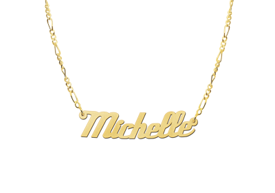 Golden Name Necklace Model Michelle