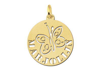 Round Gold Pendant with Butterfly and Name