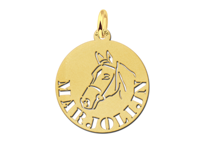 Round Gold Pendant with Horse and Name