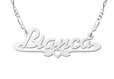 Silver name necklace, model Bianca