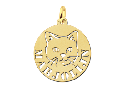 Round Golden Pendant with Cat and Name