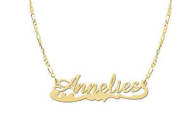 Gold Name Necklace model Annelies