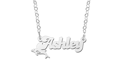 Silver Kids Name Necklace with Dolphin