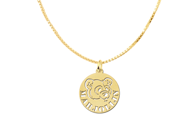 Round Gold Pendant with Bear and Name