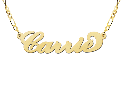 Gold name necklace Carrie style