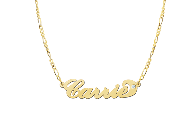 Gold name necklace Carrie style Zirkon