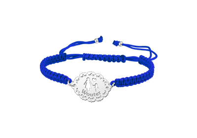 Silver mother bracelet shamballa blue - boy