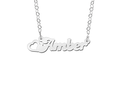 Silver Kids Name Necklace with Heart