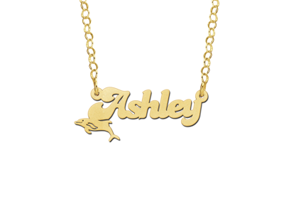 Gold Kids Name Necklace with Dolphin