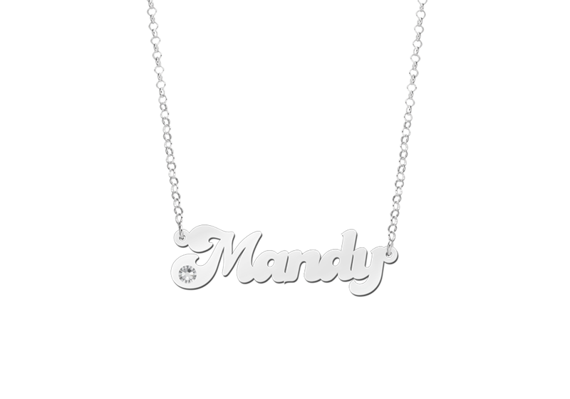 Silver Name Necklace model Mandy