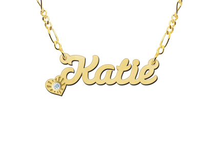 Gold name necklace, model Katie