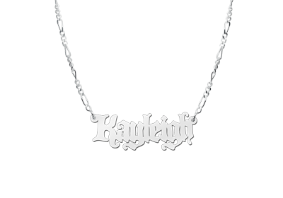 Silver Name Necklace model Kayleigh