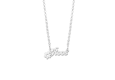 Silver Kids Name Necklace with Flower