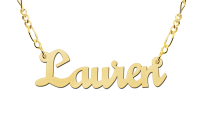 Gold name necklace, model Lauren