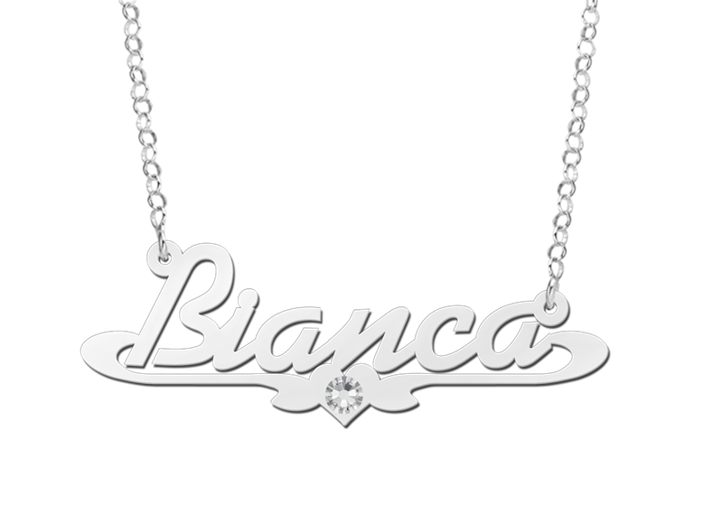 Silver name necklace, model Bianca with Zircon