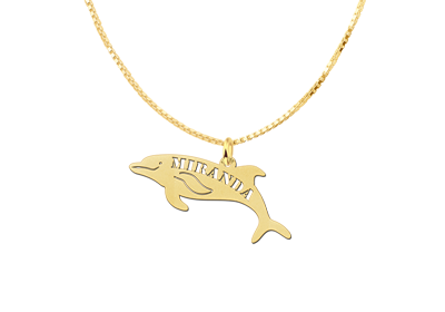 Golden pendant with dolphin