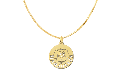 Round Golden Pendant with Dog and Name