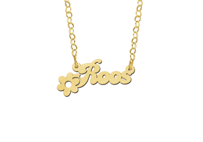 Gold Kids Name Necklace with Flower