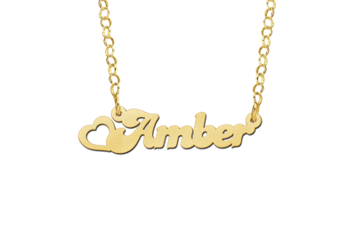 Golden Kids Name Necklace with Heart
