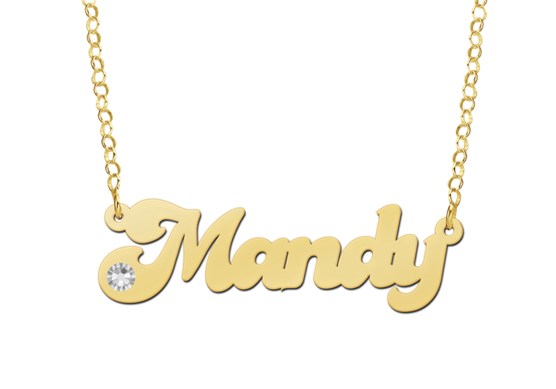 Gold Name Necklace model Mandy