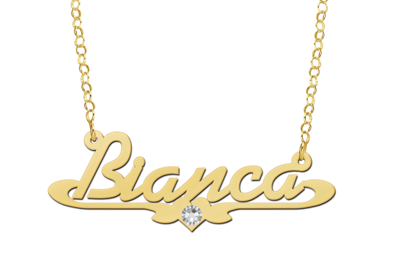 Gold name necklace, model Bianca with Zircon